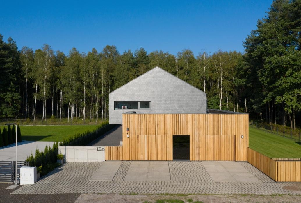 Beton, drewno i łupek - nowoczesna elewacja